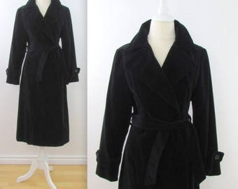 SALE Niccolini Black Velvet Belted Wrap Coat - Vintage 1970s Womens Trench in Medium Large