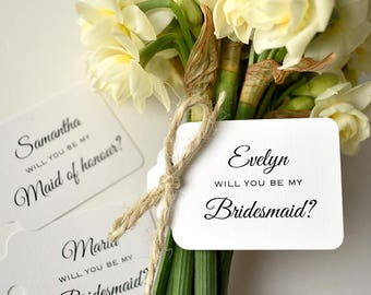 bridesmaid gift tags, maid of honour gift tags, personalised tag, wedding tag, bridesmaid, maid of honour, will you be, bridal party, tag