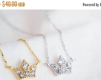 60% OFF Sale Royal Necklace, Princess Crown, Crown Necklace, Gift for Teen, GIft under 30, Gift for Her, Silver Tiara, Minimal Necklace, Evi