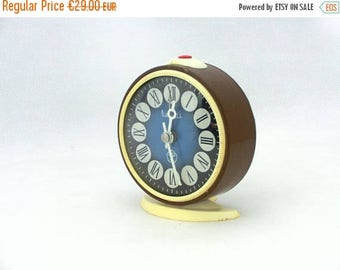 SALE 20% off Vintage alarm clock, brown / blue clock, made in Russia 70s