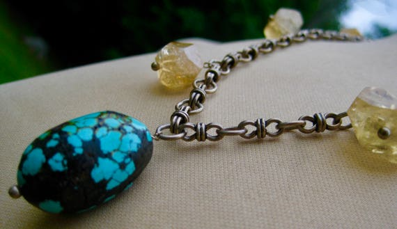 PRIYAL   Sterling  Silver Chain with Turquoise and Citrines Pendant Necklace