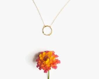 Circle Necklace - 14 Karat Open Circle Necklace
