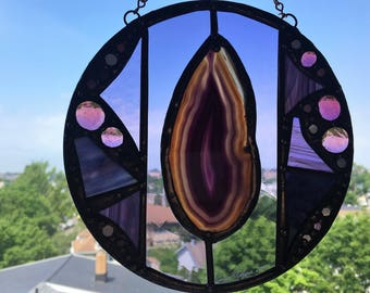Glass Art Round Stained Glass Suncatcher Purple Agate Purple Glass With Agate Abstract Modern Glass Art Handcrafted Made in America