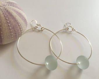 Seashell Jewelry ... Simple Mint Sea Glass Hoop Earrings (1638)