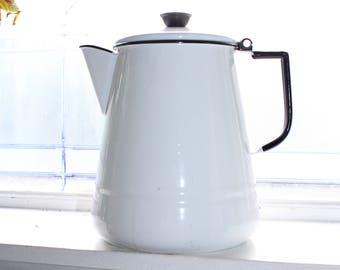 Vintage White Enamelware Coffee Pot Rustic Farmhouse Decor