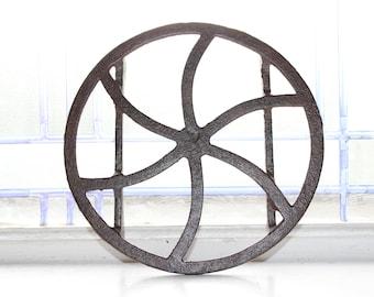 Late 1700s Cast Iron Round Trivet Antique Rustic Farmhouse Decor