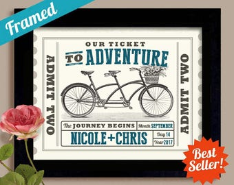 Personalized Wedding Gift for Couple Unique Engagement Gift Adventure Awaits Wedding Ticket Anniversary Gift Tandem Bicycle Newlyweds Gift
