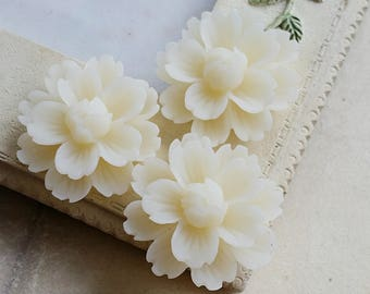 24 mm Beige Chrysanthemum Resin Flower Cabochons (B) (.ng) (zzb)