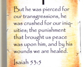 Isaiah 53:5 Bible Verse Fridge Magnet (2 x 3 inches)