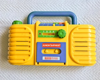 80s Junior Jammer boombox - Vintage VTech kids radio tape player - Children's plastic cassette toy - 5 tapes included