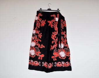 Vintage Handmade Long Cotton Floral Print Maxi Wrap Around Skirt