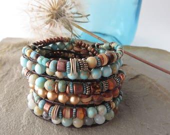 Beaded Wrap Bracelet-Wrap Bracelet-Beaded Bracelet-Boho Bracelet-Unique Jewelry for Sister-Elegant Bohemian Jewelry-Swarovski Pearl Bracelet