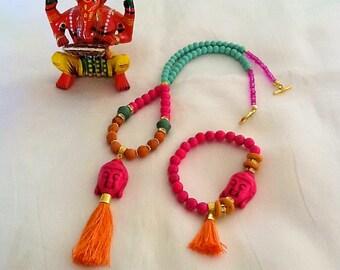 Happy Buddha necklace and bracelet set , yoga jewelry set , meditation jewelry in pink and orange, yoga jewelry with tassel