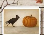 Crow and Pumpkin Autumn Card, Halloween Card