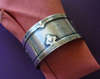 Sterling Silver Vintage Estate Napkin Ring, Shreve & Co., Fourteenth Century II, Masculine, Art Deco, San Francisco