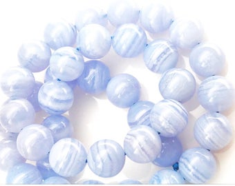 100% genuine blue lace agate smooth round 10 mm beads 15 inches
