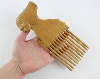 Vintage African Hand Carved Wooden Hair Comb Pick with Broken Teeth