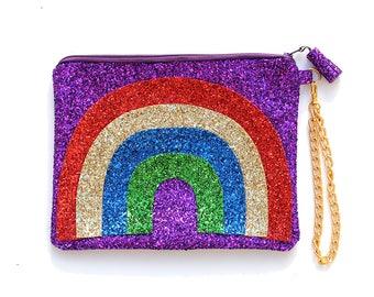 Rainbow Glitter Clutch Purse Handbag - LIMITED EDITION