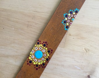 Leather Bookmark Hand Painted Dot Flower Bookmark  OOAK Southwest Keepsake Bookmark Gift Book Lover - Love That Leather
