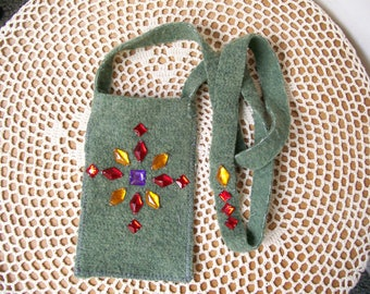 Beaded CELLPHONE POUCH Olive Green Fleece Colorful Gems Sage India Cotton Pocket  ell Bag Android Iphone Gadget - Ships free in US