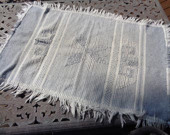 Vintage Woven Gray and White Horse Saddle Blanket in Vintage Condition with wonderful well worn signs of use, wear and tear