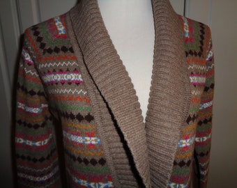Vintage Tommy Hilfiger Fair Isle Cardigan  Sweater, Size M, in Very Good Condition