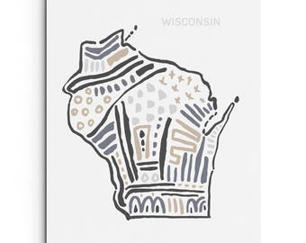 Wisconsin - Wall Decor - Giclee Print - Art Print - Wall Art - State Map Illustration - Digitally Printed