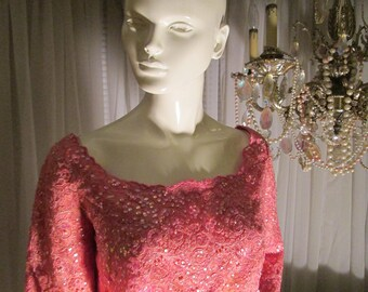 Vintage Ladies Pink Sequin/Beaded Mini TOP/Pillbox HAT Set by Rich Youth by Lila