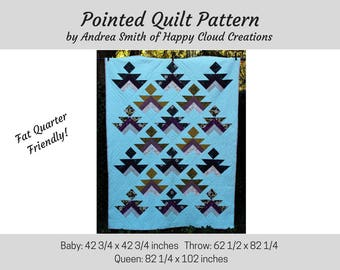 Pointed Quilt PDF Pattern, Baby / Toddler size, Throw Size, Queen Size, Quick,  Intermediate pattern, digital, quilter, modern quilt