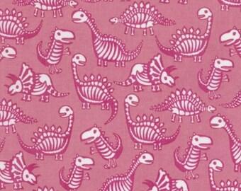 Timeless Treasures - Dinosaur Skeletons - Pink