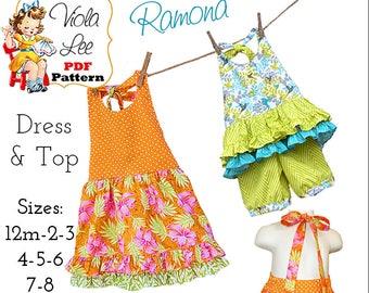 Ramona Girls Sewing Pattern. Girls Halter Dress, Summer Dress, Halter Top Pattern. Toddler Dress Pattern. Girls Dresses, pdf Sewing Pattern.