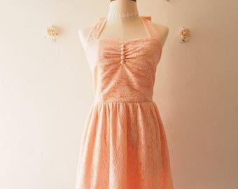 Mid Year SALE Lace Dress Old Rose Pink Peach Lace Bridesmaid Dress Vintage Sundress Wedding La La Land Dress Romantic Halter Dress Tea