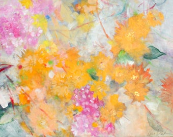 "Large Abstract Floral, Gesturla Abstract, Colorful Flowers, Painting on Canvas ""Nostalgia"" 30x40"""