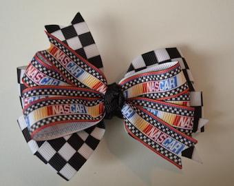 Nascar Hair Bow Race Cars Checkered Flag