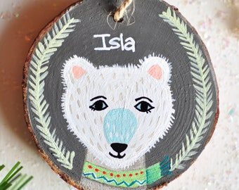 Bear Ornament. Personalized Christmas Ornament. Baby Boy First Christmas. Gift for Baby. Handmade Ornament. Kids Name Ornament. Custom Gift