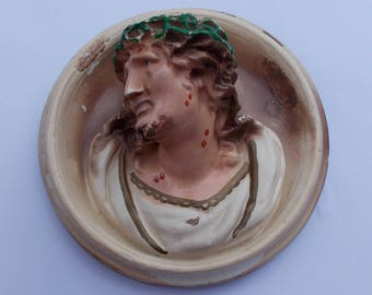 Old 1940s Chalkware Wall Plaque of JESUS with sad Expression Crown of Thorns  Religious Spiritual christian