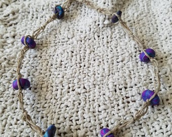 Purple Clay Bead Hemp Necklace, switch knot necklace with purple and blue clay beads