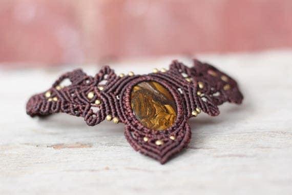STATEMENT MACRAME CHOKER - Tiger eye Necklace - Gift - Crystal Choker - Chakra Necklace - Healing Crystal Jewellery - Bespoke - Gemstone