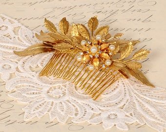 Bridal Comb Gold Leaf Headpiece Wedding Hair Piece Pearl and Rhinestone Vintage Comb Floral Hair Accessory Goddess Bridesmaid Formal Prom