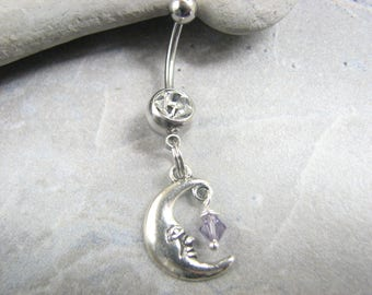 Crystal Moon Belly Button Ring, Man in the Moon Belly Button Jewelry, Dangle Belly Bar Crescent Moon with face Navel Ring  Purple Belly Ring