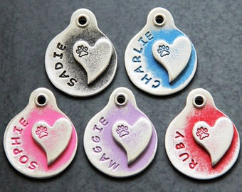 Pet ID Tags - Personalized Dog Tags - Heart with Paw Print Pet Tag - Custom - Dog Collar Tags