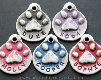 Pet Memorial, Jewelry, Pet Loss Gift, Custom Paw Print Dog Memorial, Hand Stamped, Keychain, In Memory of Dog, Pet Sympathy