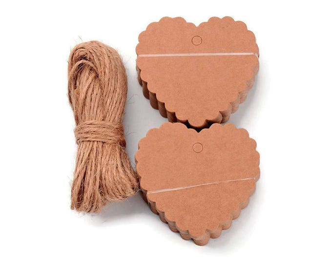 Heart Tags with Hemp Yarn - blank tags - kraft heart tag - Heart gift tags - Price Tag - favor tag - 60mm x 64mm (1916) - Flat rate shipping