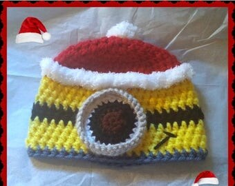 On Sale Minion Santa Adult Size Hat, Handmade Crochet Minion Christmas Hat Made to Order