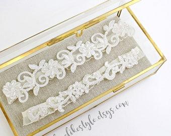 Wedding Garter, Pearl Beaded Lace Wedding Garter Set, White Lace Garter Set,Ivory  Lace Wedding Garter