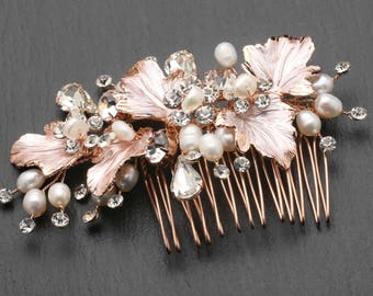 Rose Gold Bridal Comb, Crystal and Pearl Wedding Comb, Bridal Headpiece