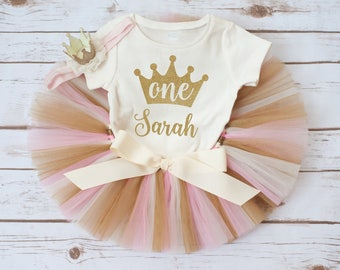 Personalized first birthday outfit 'Luca Gold' pink and gold first birthday outfit pink and gold birthday tutu first birthday tutu outfit