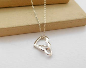 Retro Italy Sterling Silver Intertwined Heart Charm Pendant Choker Necklace E15