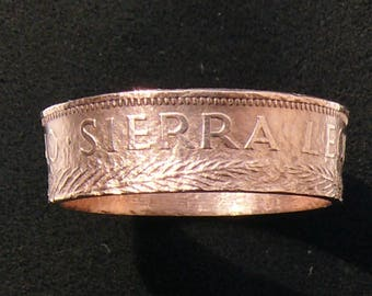 Bronze Coin Ring 1964 Sierra Leone 1 Cent, Ring Size 10 1/2 and Double Sided