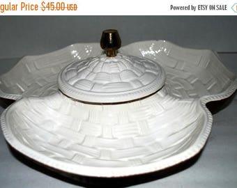 weekend sale Vintage serving set  chip and dip condiment set basket weave  ceramic serving tray